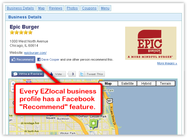 Every EZlocal business profile has a Facebook Recommend Feature.