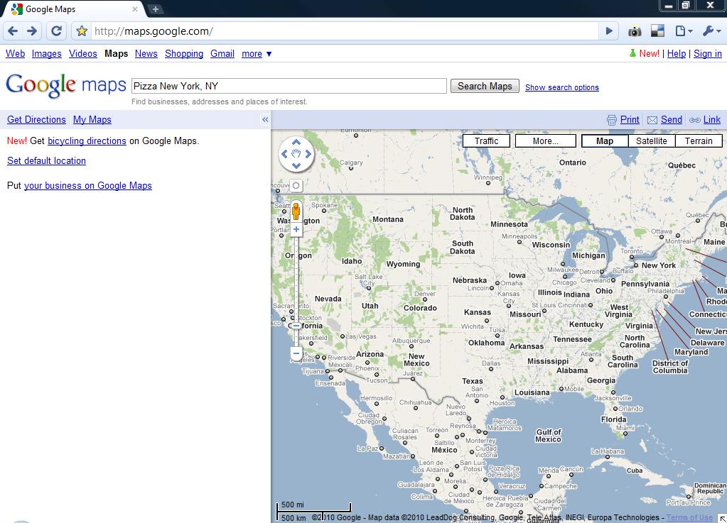 Google Maps Page