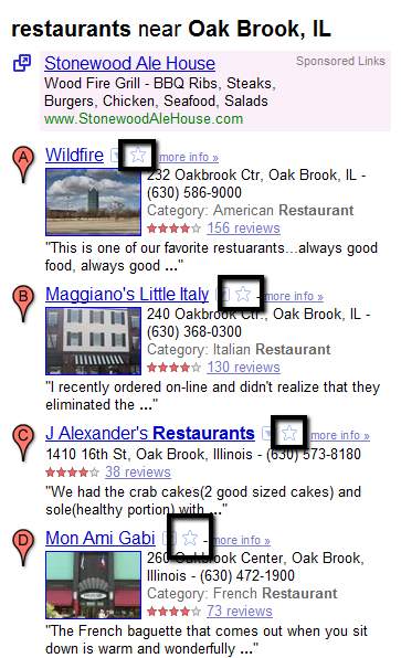 Google Maps Search with Stars