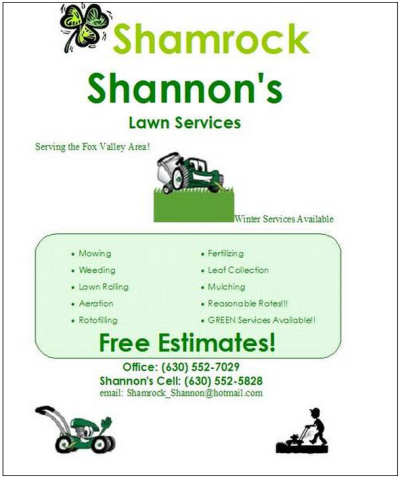 Shamrock shannon 39 s lawn services lawn care service for Local lawn care services
